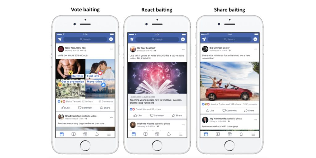 Examples of Engagement Bait from Facebook